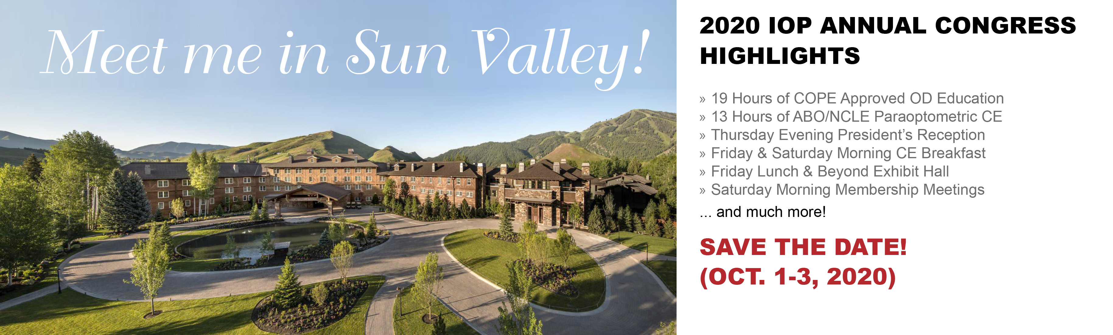 SAVE the DATE: 2020-Oct 1-3 Annual Congress-Sun Valley